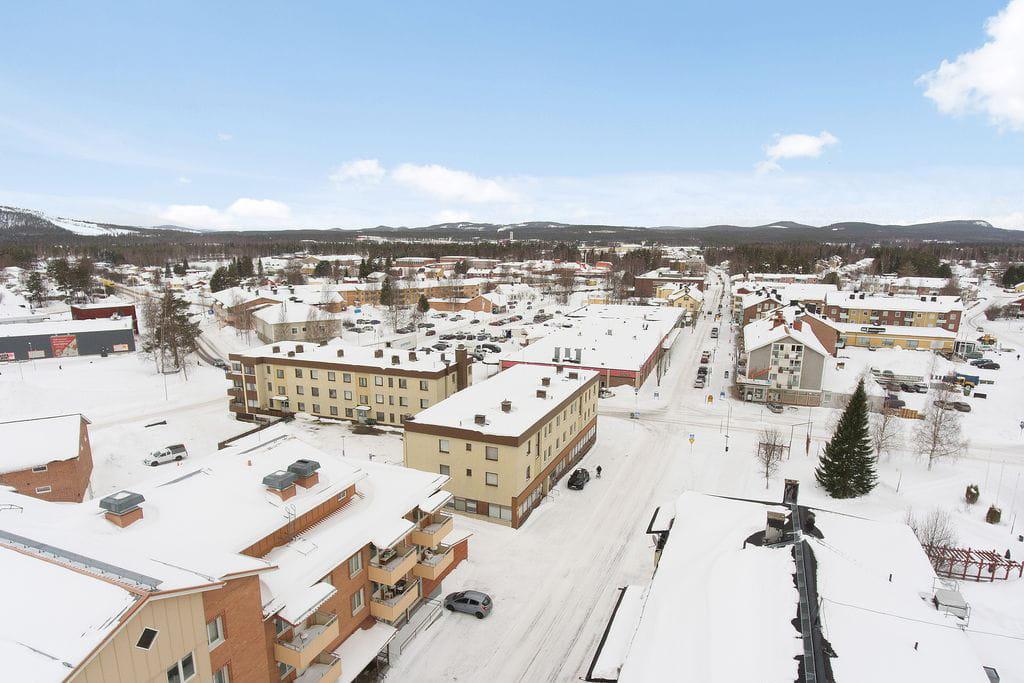 Älvsbyn, centrum på vintern