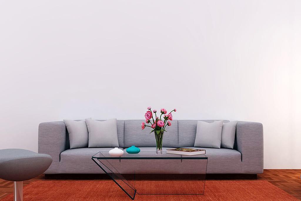 Soffa med soffbord och blommor